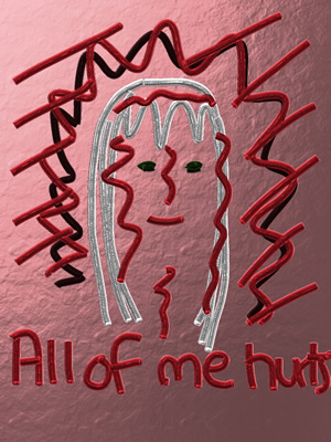 a painting saying all of me hurts