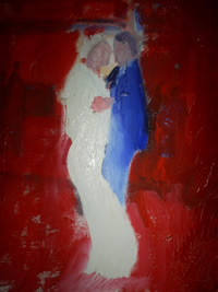 a painting of a bride and groom