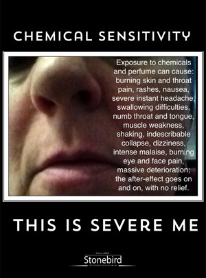 a poster listing the many symptoms of chemical sensitivity in Severe ME
