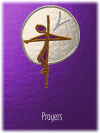 a purple drawing of a cross