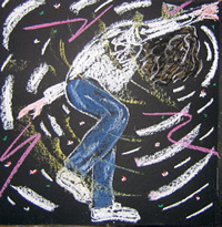 a pastel drawing of a young boy dancing