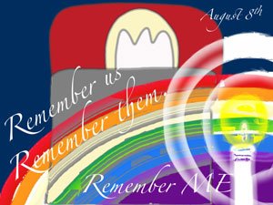 a poster saying remember them, remember us, remember ME