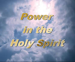 a sign saying Power of the Holy Spirit