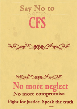 a poster saying no to cfs