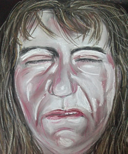 a pastel painting of a very ill woman in great pain and suffering