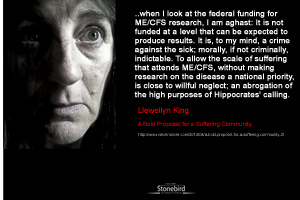 a quote from Llewely King :when I look at the federal funding for ME/CFS research, I am aghast: It is not funded at a level that can be expected to produce results. It is, to my mind, a crime against the sick; morally, if not criminally, indictable. To allow the scale of suffering that attends ME/CFS, without making research on the disease a national priority, is close to willful neglect; an abrogation of the high purposes of Hippocrates' calling.