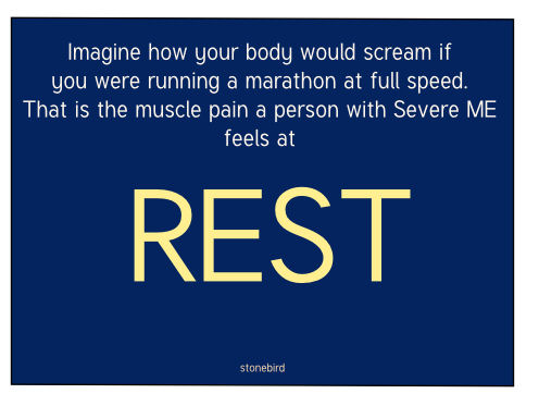 a poster saying  Imagine you are running a marathon at full speed, that is the muscle pain a person with severe me feels at rest