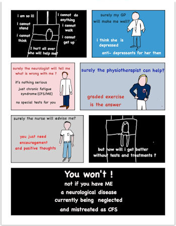 a poster of how impossible it is to access help if you have Severe ME